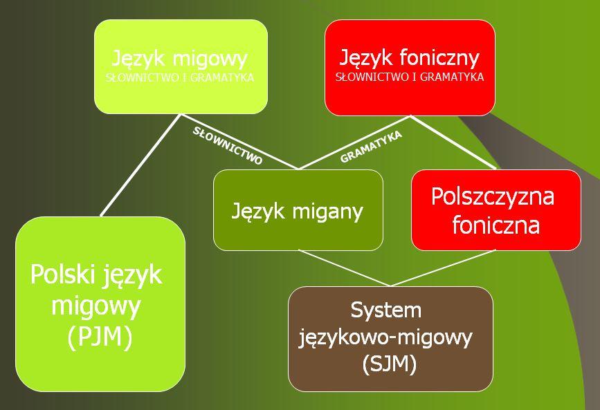 koegzystencja pomiędzy językiem migowym, fonicznym, miganym, loszczyzną foniczną, polskim językiem migowym i systemem językowo-migowym