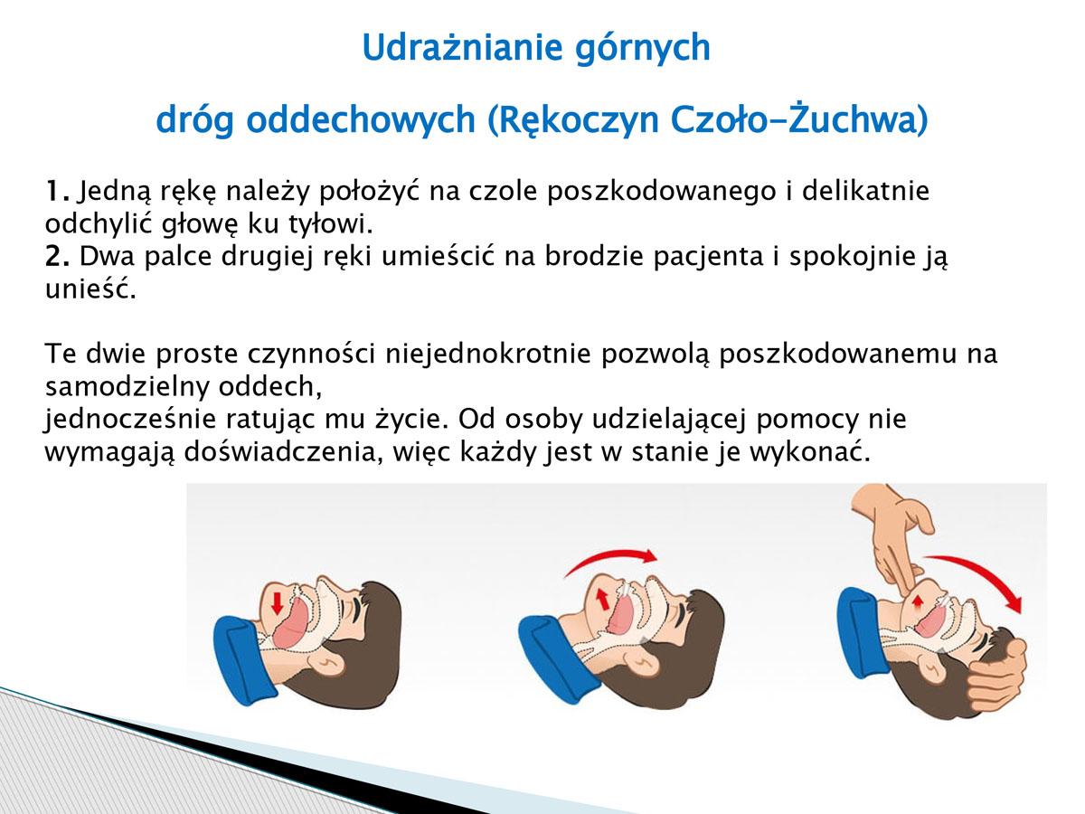 plansza - Udrażnianie górnych dróg oddechowych. Pierwsza pomoc w języku migowym