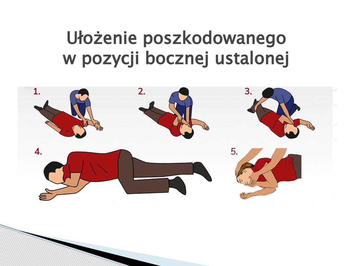 plansza - Ułożenie poszkodowanego w pozycji bocznej ustalonej. Pierwsza pomoc w języku migowym