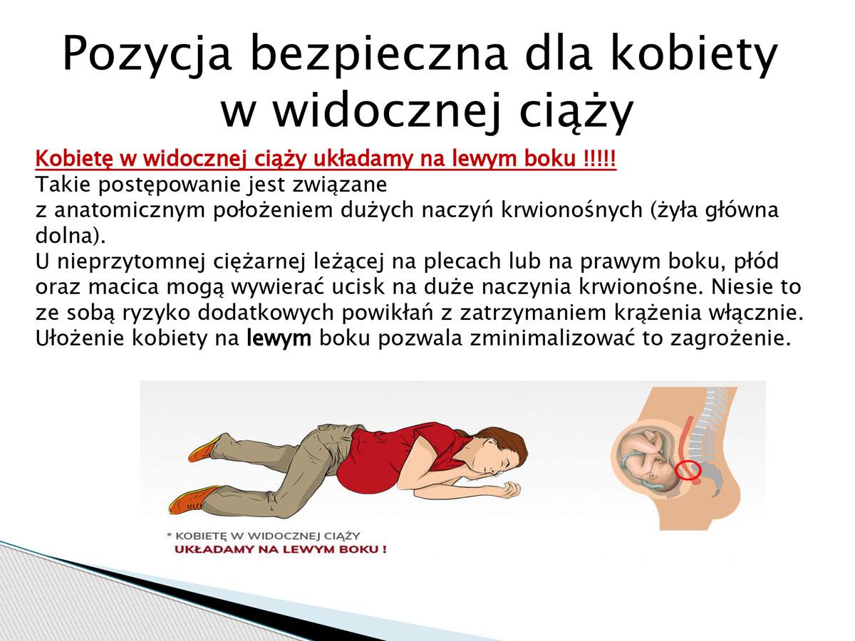 plansza - pozycja bezpieczna dla kobiety w widocznej ciąży. Pierwsza pomoc w języku migowym