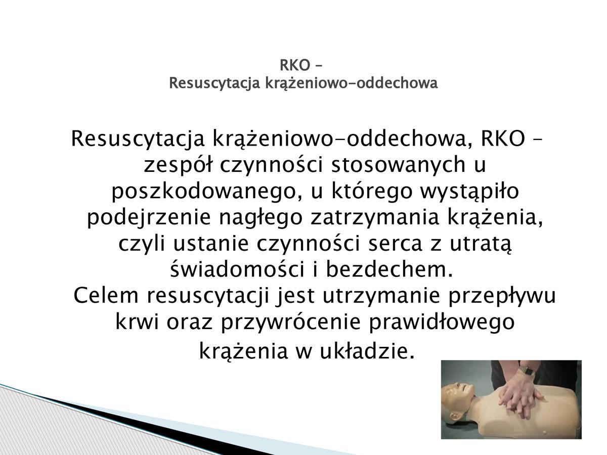plansza - RKO - resuscytacja krążeniowo-oddechowa. Pierwsza pomoc w języku migowym