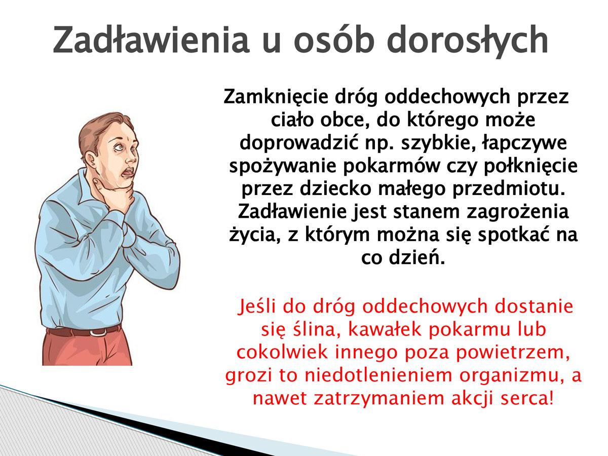 plansza - zadławienie u osób dorosłych. Pierwsza pomoc w języku migowym.