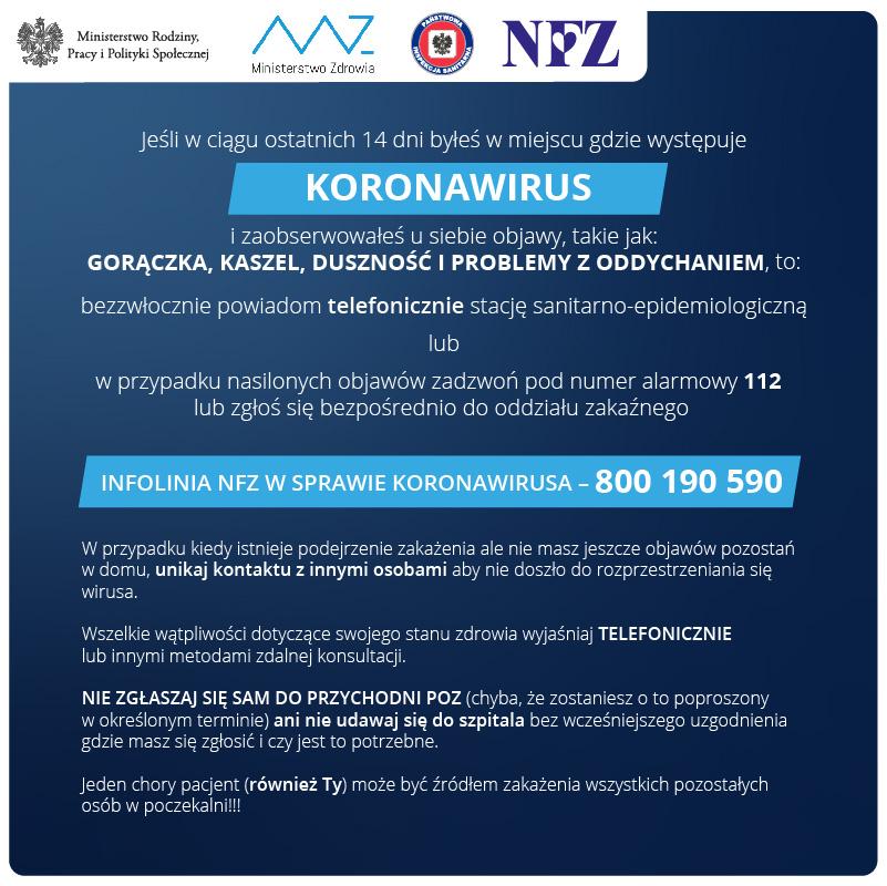 Koronawirus, objawy, informacje od NFZ