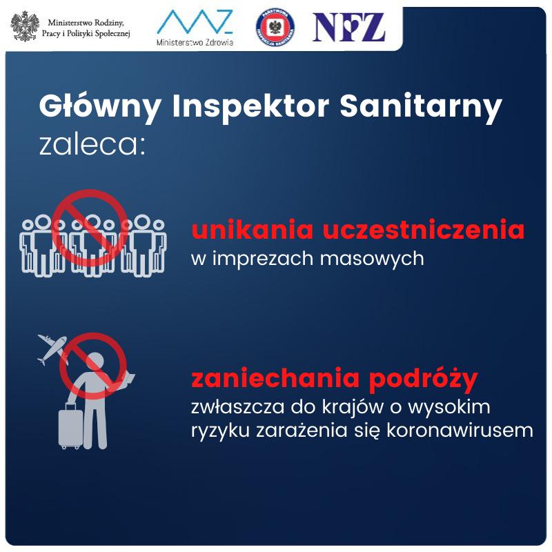 Koronawirus, Główny Inspektor Sanitarny, informacje od NFZ