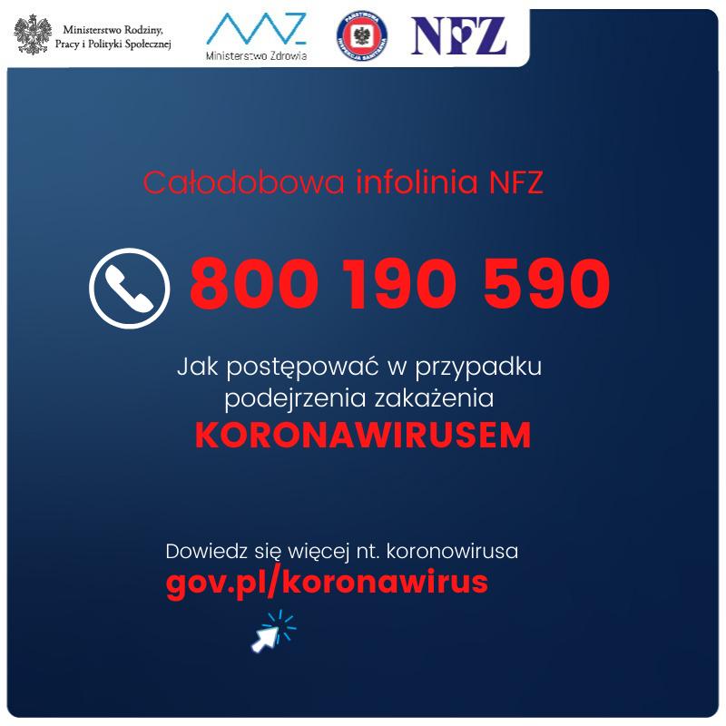 Koronawirus, infolinia, informacje od NFZ