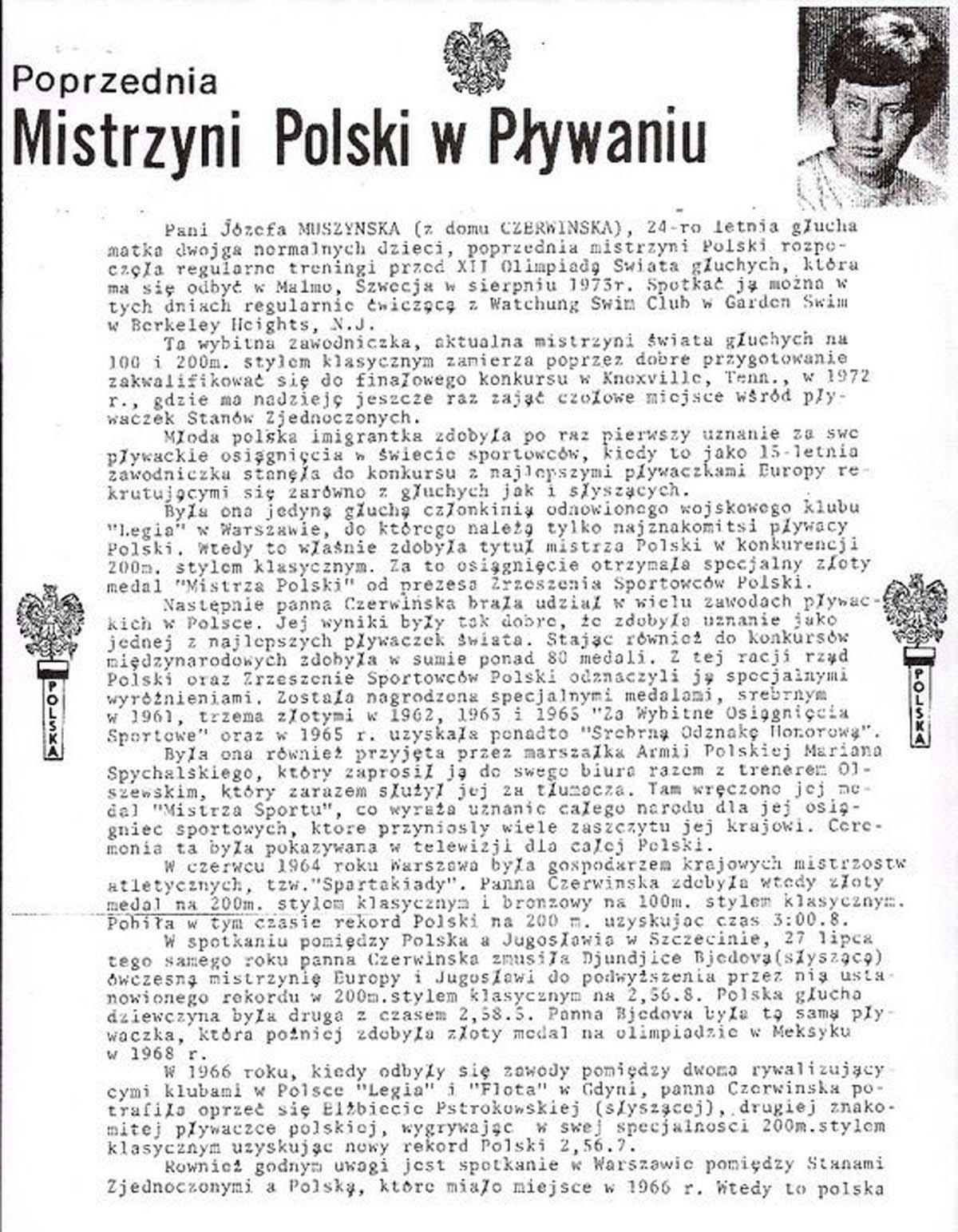 Józefa Muszyński-Czerwińska — Mistrzyni Polski w Pływaniu - artyuł