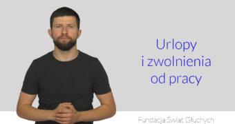 grafika, po lewej Maciej Joniuk, lektor języka migowego, po prawej napis: