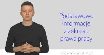 grafiak, po lewej niesłyszący Michał Konwerski, po prawej napis: