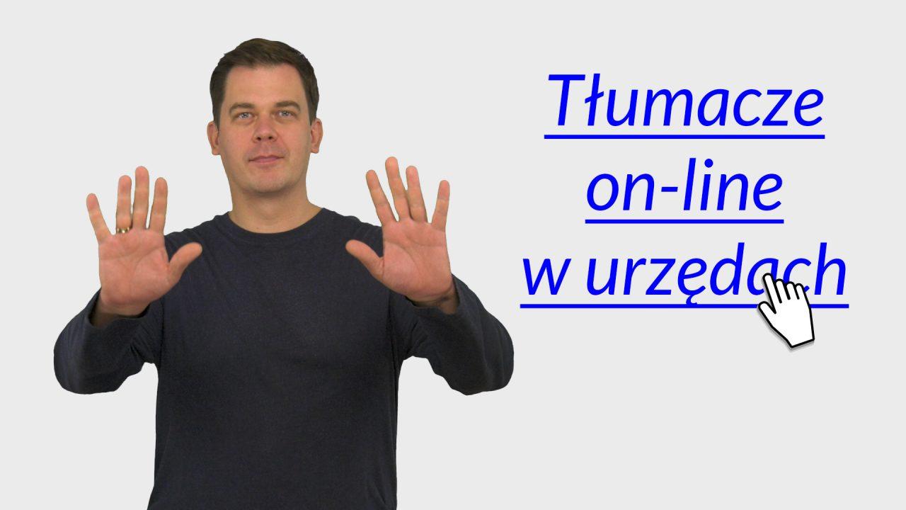 grafika. Po lewej zdjęcie tłumacza języka migowego Tomasza smakowskiego, po prawej napis: