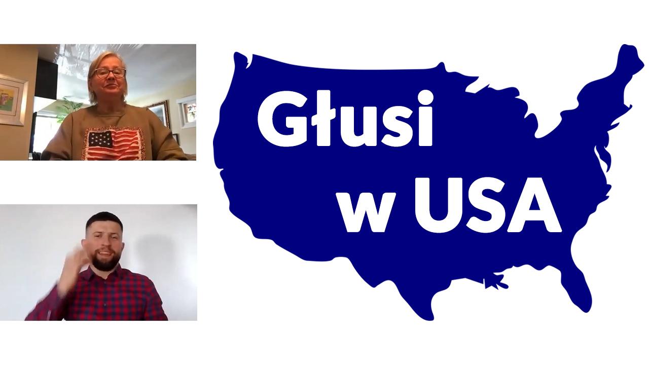 grafika. Po lewej stronie zdjęcie z rozmowy Pani Józefy Czerwińskiej-Muszyński z Maciejem Joniukiem, po prawej stronie zarys granic Stanów Zjednoczonych, w środku napis: