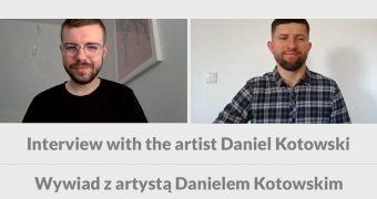 Grafika. Na górze stop klatka z wideorozmowy. Po lewej: Daniel Kotowski,, po prawej Maciej Joniuk. Poniżej napis: