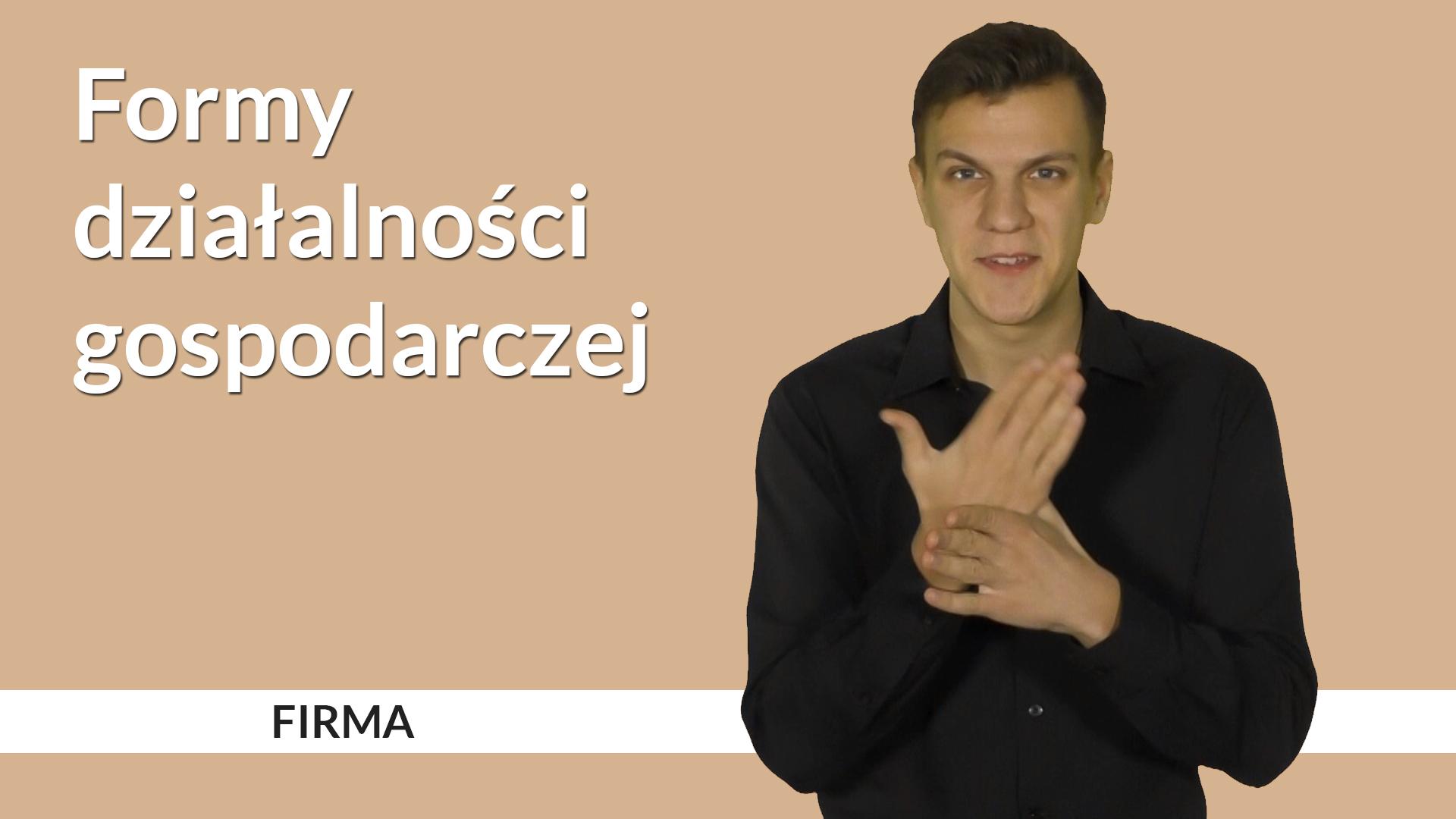 Grafika do serii filmów w języku migowym o działalności gospodarczej. Po lewej napis: