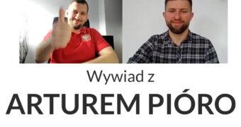 grafika: na górze kadr z wideorozmowy Arura Pióro i Macieja Joniuka, poniżej napis: