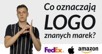 """Miniaturka do filmu: Po lewej stronie stop-klatka z tłumaczem PJM Jakubem Malikiem, po prawej stronie napis: """"Co oznaczają logo różnych marek?"""", poniżej na białym tle logo film: FedEx, Apple i Amazon."""
