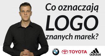 Po lewej stop-klatka z filmu z tłumaczem języka migowego Jakubem Malikiem, po prawej napis: Co oznaczają logo znanych marek? Poniżej logo firm BMW, Toyota, Adidas.